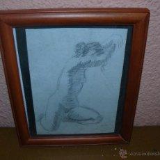 Arte: DIBUJO LÁPIZ - FIRMADO SERRA - DESNUDO FEMENINO. Lote 39387403
