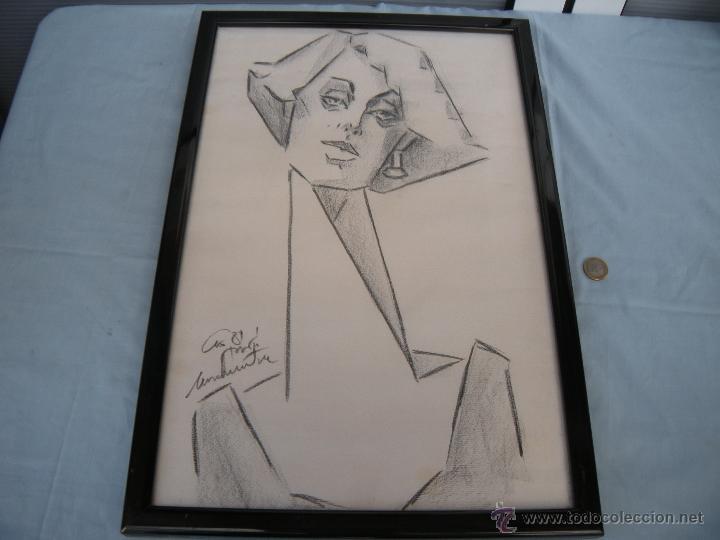 DIBUJO DE MUJER A CARBONCILLO. (Arte - Dibujos - Contemporáneos siglo XX)