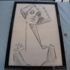 Arte: DIBUJO DE MUJER A CARBONCILLO.. Lote 39389388