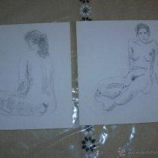 Arte: DIBUJO A LÁPIZ Y CARBONCILLO - DESNUDOS FEMENINOS - D. Lote 39416199