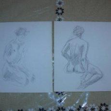 Arte: DIBUJO A LÁPIZ Y CARBONCILLO - DESNUDOS FEMENINOS - H. Lote 39416328