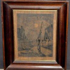 Arte: FIRMADO F. BES. DIBUJO A TINTA SOBRE TABLA DE LOS AÑOS 50. ESCENA DE DON QUIJOTE. Lote 39510089