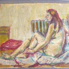 Arte: DIBUJO A CERA Y COLOR - FDO FRANCISCO RIBERA - DESNUDO FEMENINO. Lote 39541426