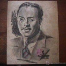 Arte: RETRATO, GOMEZ CATON, 1940, DIBUJO CARBONCILLO. Lote 45749586