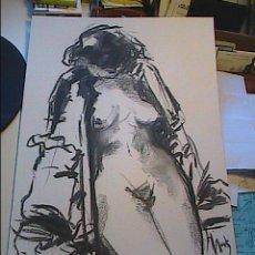 Arte: EXCELENTE DIBUJO AL CARBÓN.POSADO FEMENINO. MARK DEBROUX. 2002.. Lote 39685653