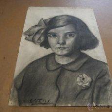Arte: J. VALLS. DIBUJO A CARBON. NIÑA. . Lote 39832084