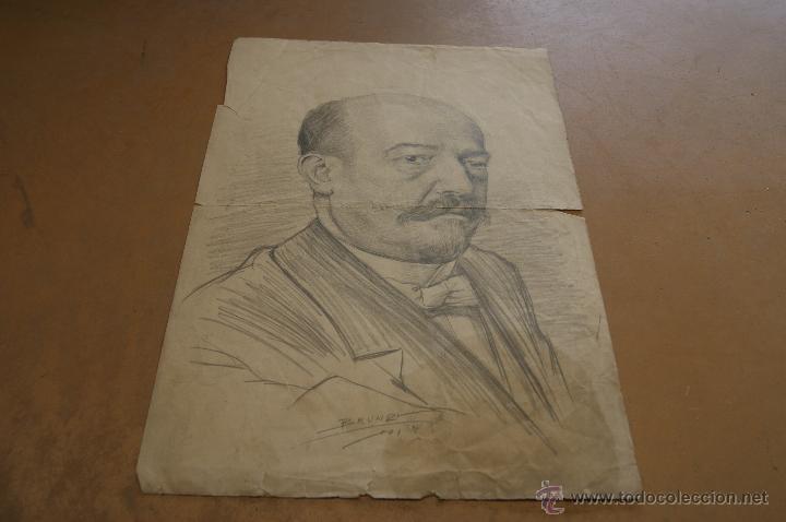 FIRMADO BRUNDI, DIBUJO A CARBON. 1901 (Arte - Dibujos - Contemporáneos siglo XX)