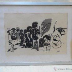 Arte: INTERESANTE DIBUJO CUADRO FIRMADO ERNESTO TEMA POLITICO ? GUERRERO OBRA CON MUCHA INSPIRACION. Lote 39707938