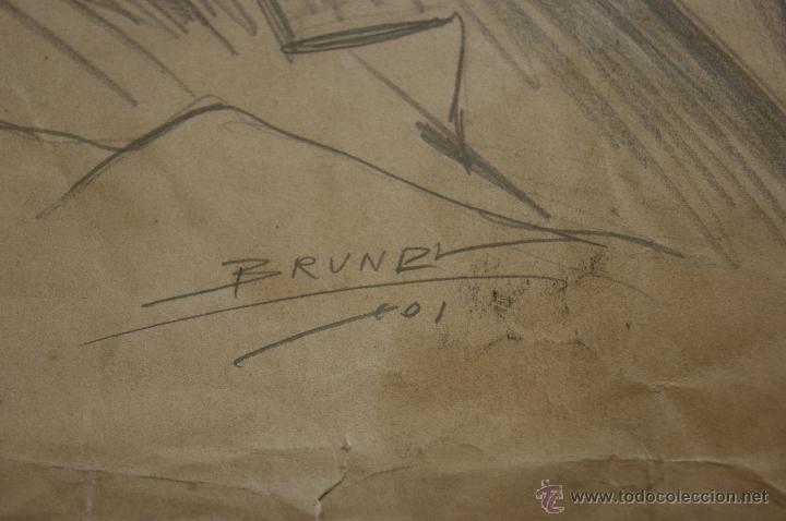 Arte: Firmado Brundi, dibujo a carbon. 1901 - Foto 3 - 39832122