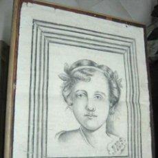 Arte: 65 X 50 CM - ANTIGUO DIBUJO A CARBON - RETRATO NIÑA - FIRMADO - MODERNISTA 1920. Lote 40006054