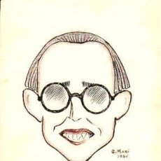 Arte: CARICATURA DEL POETA ANGEL PONS GUITART. COLOREADA DE S. MARÍ DE 1934. 20 X 15 CM. SOBRE CARTULINA. Lote 108873435