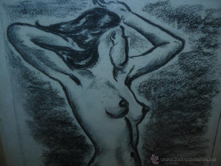 Arte: DIBUJO - CARBONCILLO - FDO. PRUNA - 1976 - DESNUDO FEMENINO - Foto 2 - 40033574
