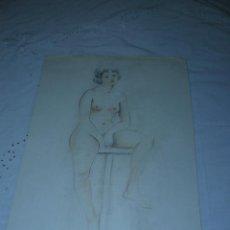Arte: DIBUJO A LAPIZ - J CASAS - DESNUDO FEMENINO. Lote 40050491