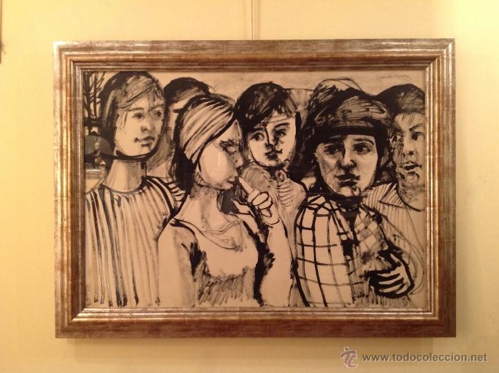 DIBUJO PASEO DE SEÑORAS / GRANADOS LLIMONA, JUAN / BARCELONA -1931 MEDIDAS 117X86CM (Arte - Dibujos - Contemporáneos siglo XX)