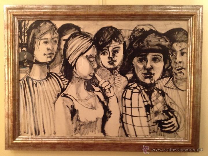 Arte: Dibujo Paseo De Señoras / Granados Llimona, Juan / Barcelona -1931 Medidas 117X86CM - Foto 2 - 40089277