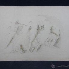 Arte: DIBUJO A LÁPIZ GRISALLA AGUATINTA FRISO PERSONAJES Y CABALLO ATENAS FIRMA ILEGIBLE XANTHIUS FECIT H2. Lote 40479355