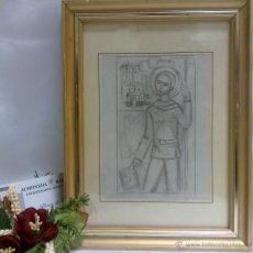 Arte: 2º 1/2 XX.-DIBUJO A LAPICERO,- SANT JORDI,.-ENMARCADO.. Lote 40487568
