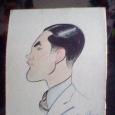 Arte: DIBUJO RETRATO ORIGINAL CARICATURA ANTIGUA DAVILA A UN COLEGA SUYO PINTOR EN CARTULINA. Lote 40618814