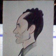 Arte: DIBUJO ORIGINAL ANTIGUO RETRATO CARICATURA ANTIGUA DAVILA EN CARTULINA. Lote 40619000