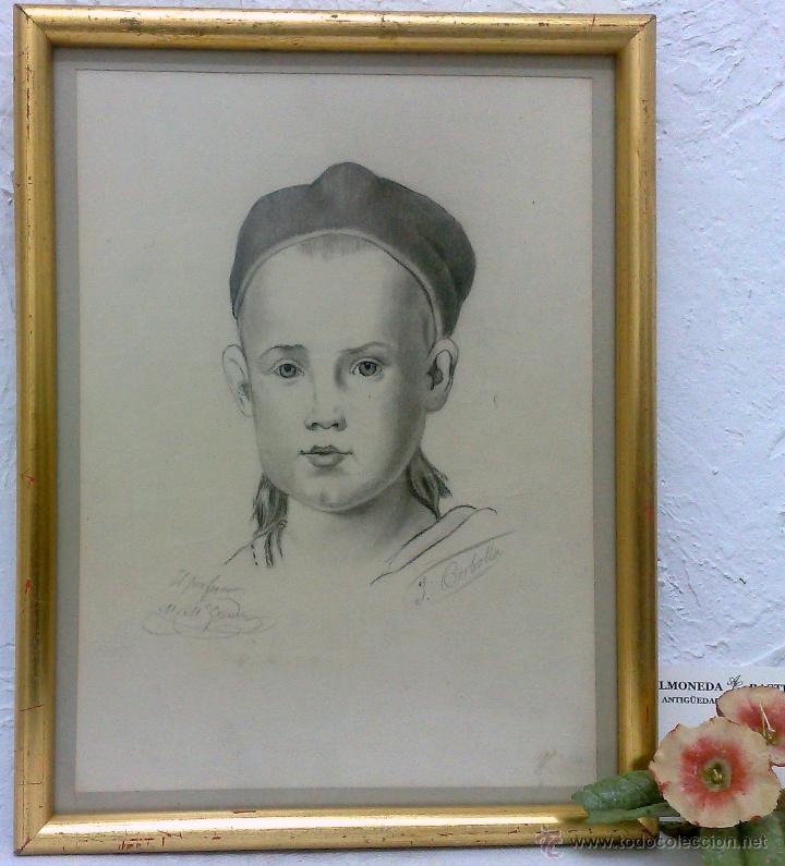 PEQUEÑA.- RETRATO A LAPICERO, SIGLO XIX.- FIRMADO. (Arte - Dibujos - Modernos siglo XIX)