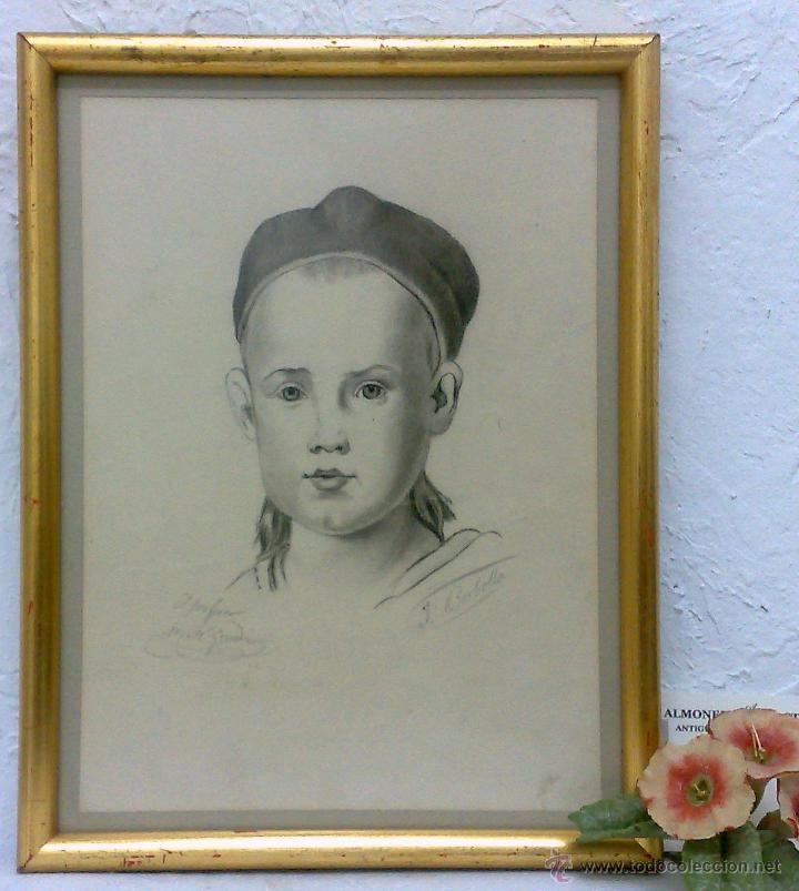 Arte: PEQUEÑA.- RETRATO A LAPICERO, SIGLO XIX.- FIRMADO. - Foto 6 - 40662467