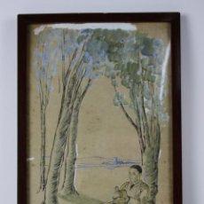 Arte: A2-066. DIBUJO REPRESENTANDO PAREJA JOVEN, AÑOS 50,. Lote 152423336