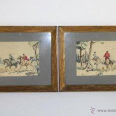 Arte: B2-057. PAREJA DE DIBUJOS INGLESES, DE TEMA CAZADORES A CABALLO, TINTA Y LÁPICES DE COLOR, AÑOS 30. Lote 40680964