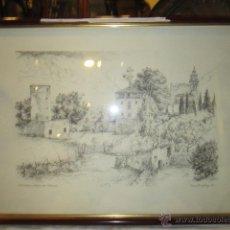 Arte: ANTIGUODIBUJO DE VALLDEMOSA - MALLORCA - FIRMADO POR ELMAR DRASTRUP 66- MARCO DETERIORADO.. Lote 40705586