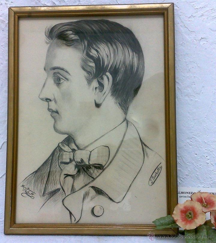 Arte: SIGLO XIX.XX. DIBUJO A LÁPIZ, FIRMADO - Foto 2 - 40705715