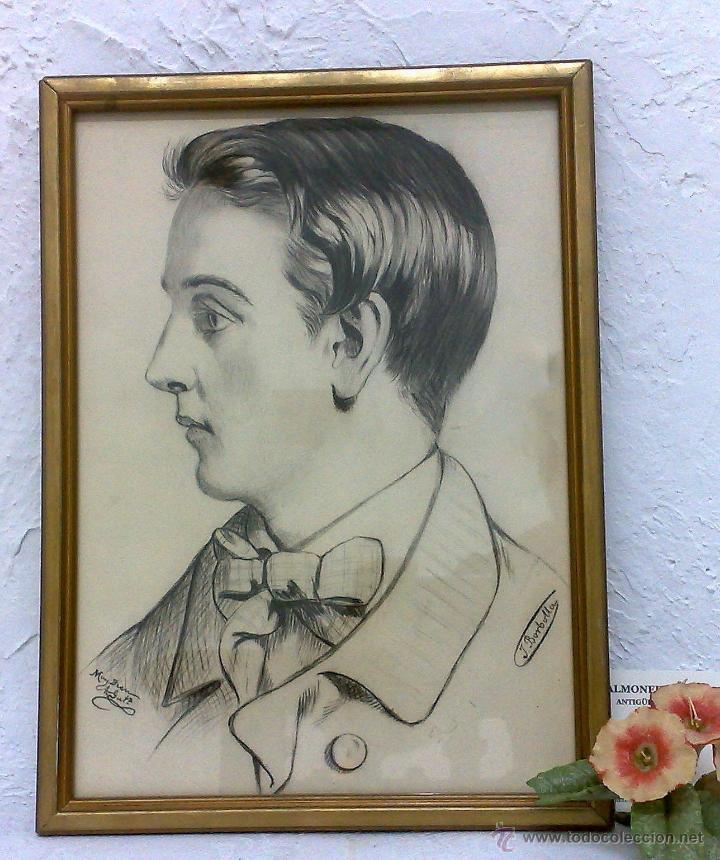 Arte: SIGLO XIX.XX. DIBUJO A LÁPIZ, FIRMADO - Foto 3 - 40705715