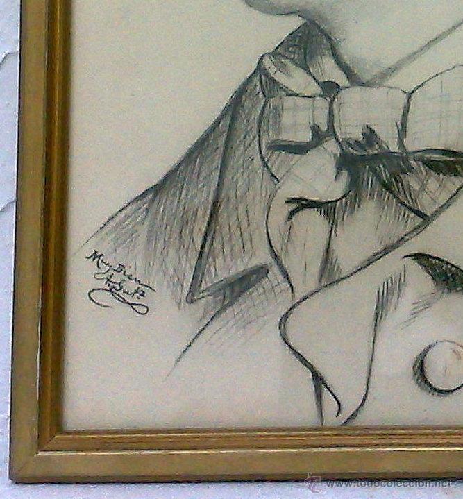 Arte: SIGLO XIX.XX. DIBUJO A LÁPIZ, FIRMADO - Foto 5 - 40705715
