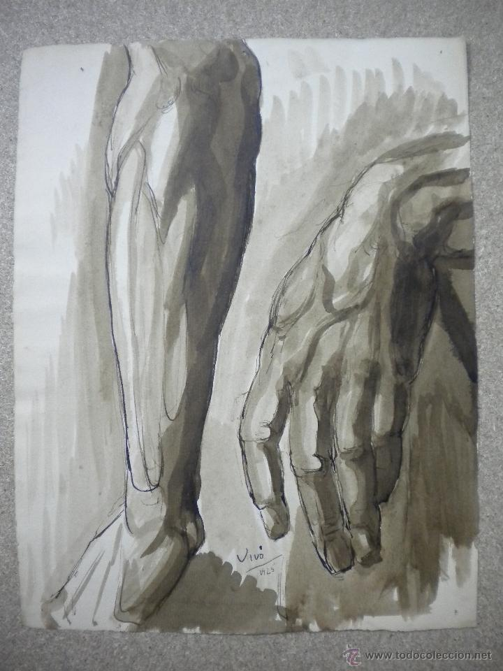 DIBUJO FIRMADO SALVADOR VIVÓ 1925,MEDIDA 24X31 (Arte - Dibujos - Contemporáneos siglo XX)