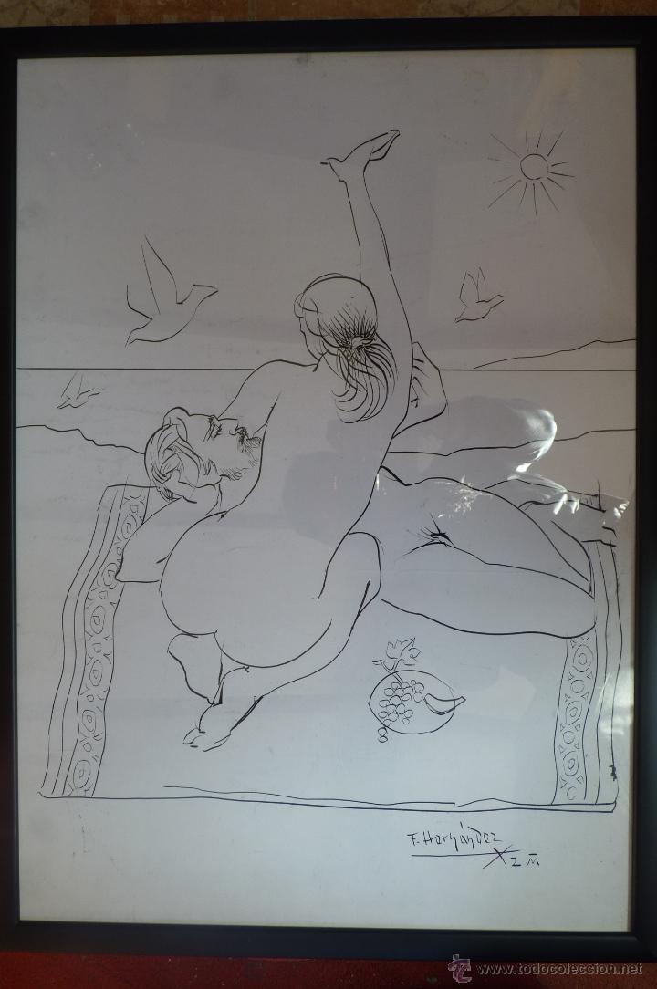 MARAVILLOSO DIBUJO ALEGÓRICO A PLUMILLA DEL GENIAL PINTOR PACO HERNÁNDEZ (Arte - Dibujos - Contemporáneos siglo XX)