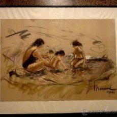 Arte: PRECIOSO DIBUJO AL PASTEL DE JOSEP MUNNE GRAUPERA (LLAVANERAS 1933)FECHADO EN 1997. Lote 40775883