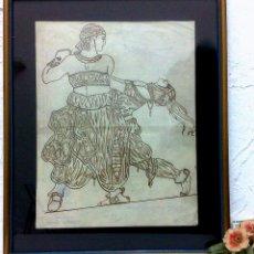 Arte: SHEREZADE.- BAILES RUSOS,- DIBUJO SOBRE CARTA MANUSCRITA EN 1919. Lote 40852053
