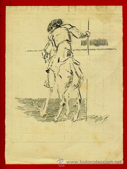 DIBUJO PLUMILLA , TEMA TOROS , DESCONOZCO ILUSTRADOR ,ORIGINAL ,D1 (Arte - Dibujos - Contemporáneos siglo XX)