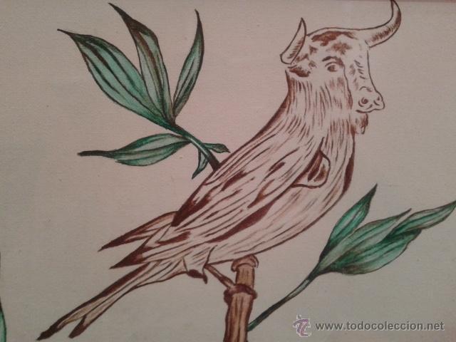 Raro Pintura Dibujo A Lapiz De Un Pajaro Con Ca