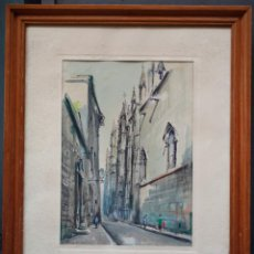 Arte: JAUME ROCA DELPECH (SALT 1911-GIRONA 1968) LA CATRDRAL, BARCELONA. ACUARELA 30X42CM.. Lote 41105699