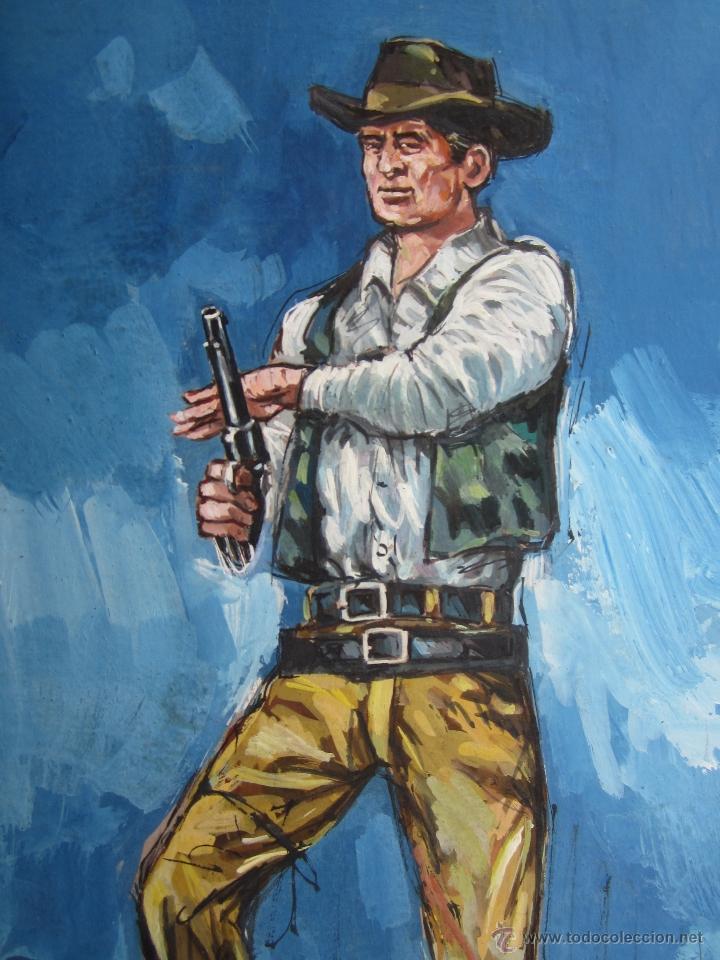 PINTURA ORIGINAL , SOBRE CARTON GRUESO, PUEDE SER ORIGINAL PARA NOVELAS OESTE (Arte - Dibujos - Contemporáneos siglo XX)
