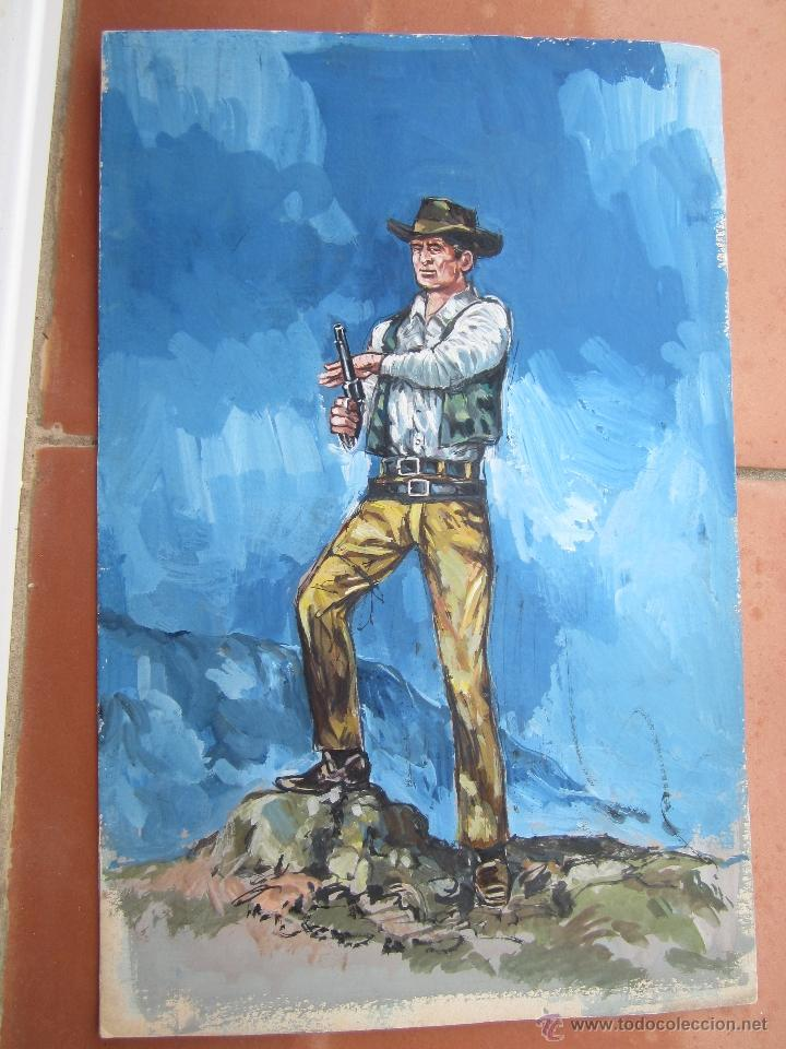 Arte: pintura original , sobre carton grueso, puede ser original para novelas oeste - Foto 2 - 41111853