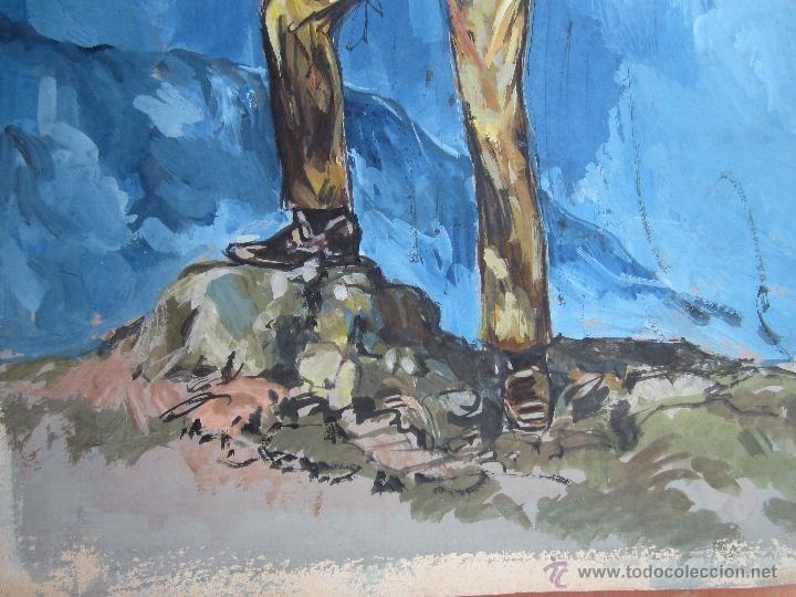 Arte: pintura original , sobre carton grueso, puede ser original para novelas oeste - Foto 3 - 41111853