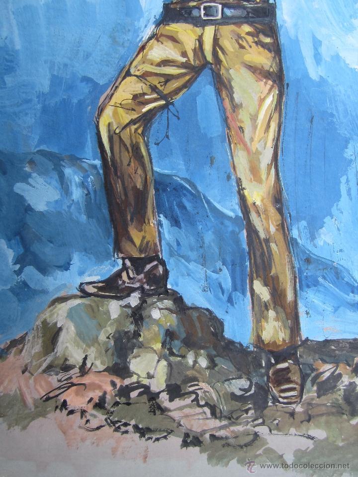 Arte: pintura original , sobre carton grueso, puede ser original para novelas oeste - Foto 4 - 41111853
