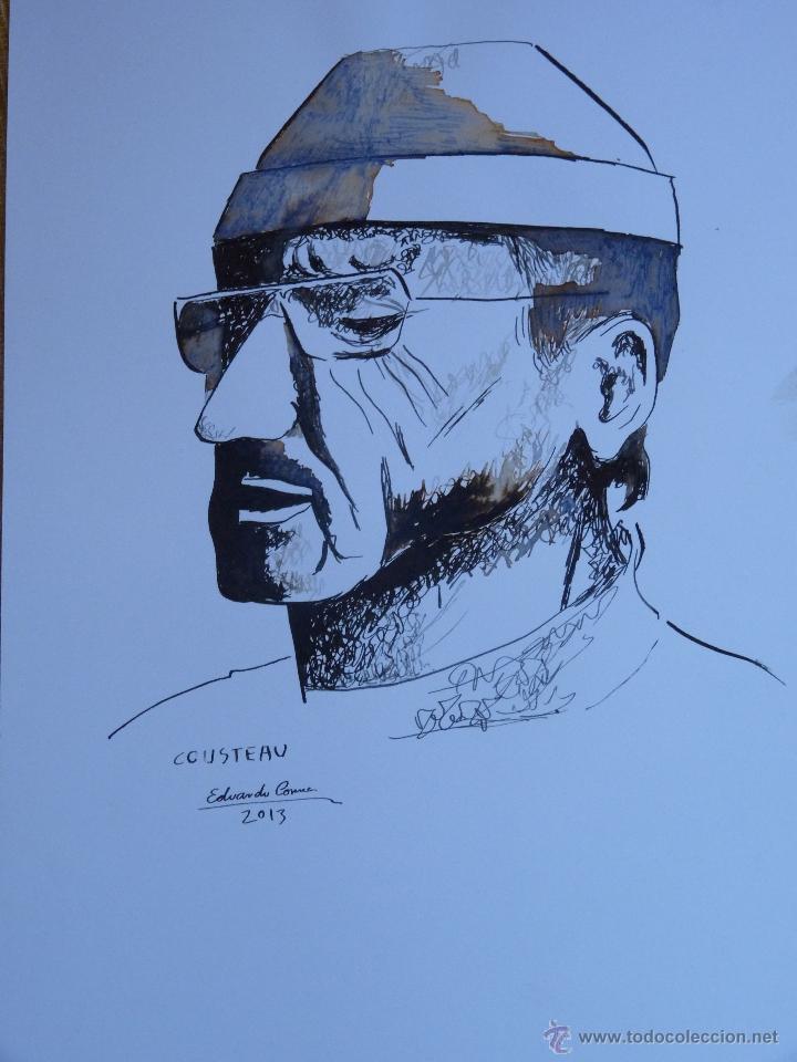 DIBUJO A TINTA , RETRATO DE JACQUE COUSTEAU, AUTOR EDUARDO CORREA (Arte - Dibujos - Contemporáneos siglo XX)