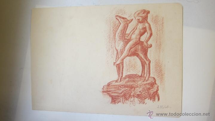 ARTE DIBUJO SANGUINA ESTUDIO PARA CERAMICA DIOSA CON CERVATILLO J. RUIZ DE LUNA (Arte - Dibujos - Contemporáneos siglo XX)
