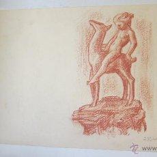 Arte: ARTE DIBUJO SANGUINA ESTUDIO PARA CERAMICA DIOSA CON CERVATILLO J. RUIZ DE LUNA. Lote 41140291
