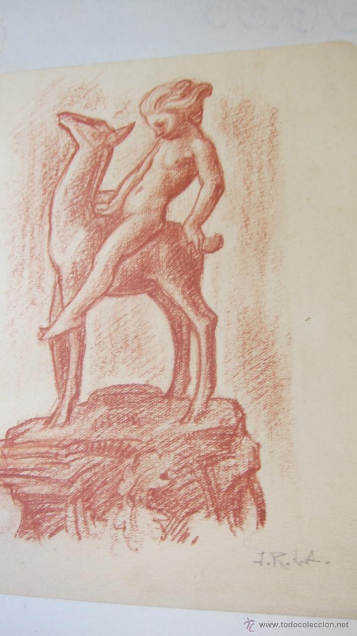 Arte: arte dibujo sanguina estudio para ceramica diosa con cervatillo j. ruiz de luna - Foto 2 - 41140291