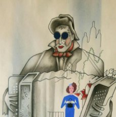 Arte: PRECIOSO Y ROMANTICO DIBUJO VINTAGE (ACORDEONISTA CIEGO, PARIS) FIRMADO EN EL 1951.. Lote 41232080