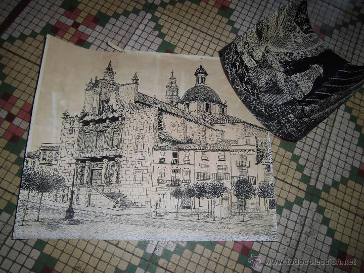 LOTE PAREJA DIBUJOS MARIBEL MIQUEL PINTURA ANTIGUA DIBUJO A PLUMILLA IGLESIA VALENCIA (Arte - Dibujos - Contemporáneos siglo XX)