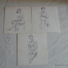 Arte: DIBUJOS A LÁPIZ Y CARBONCILLO - DESNUDOS FEMENINOS ( M). Lote 41265343