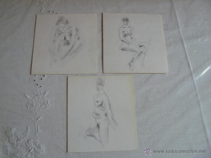 DIBUJOS A LÁPIZ DESNUDOS FEMENINOS ( O) (Arte - Dibujos - Contemporáneos siglo XX)